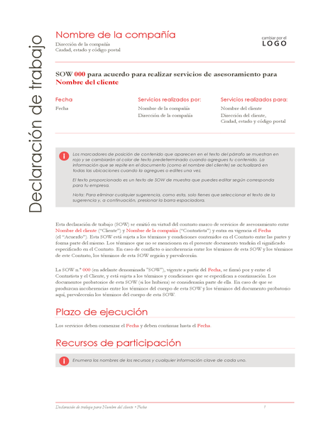 Declaración de trabajo (diseño rojo)