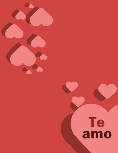 "Tarjeta ""Te amo"" (se dobla en cuatro partes)"
