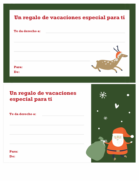 Certificado de regalo de Navidad (diseño Espíritu navideño)