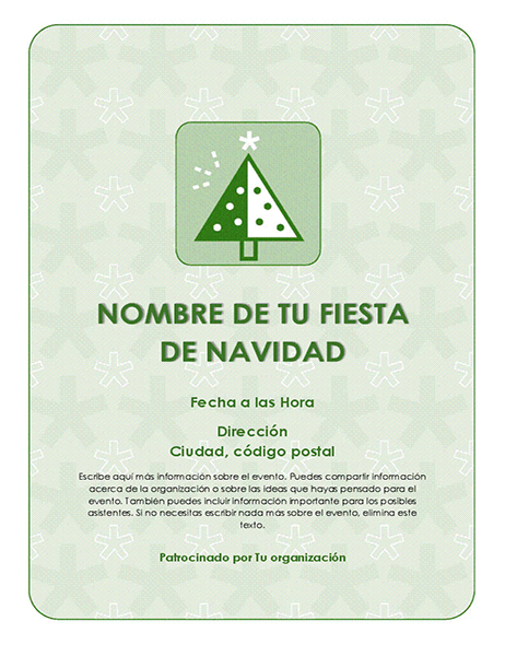 Prospecto de evento de Navidad (con árbol verde)