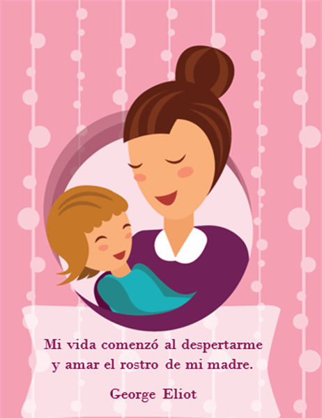 Tarjeta del Día de la Madre (con una madre y su bebé; se dobla en cuatro partes)