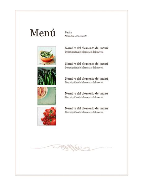 Menú del evento (diseño sencillo)