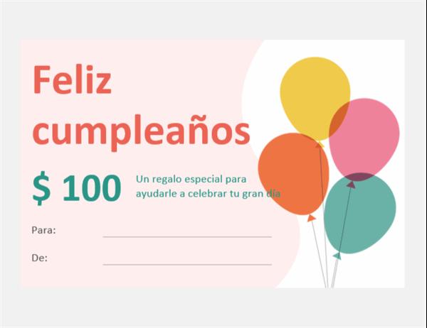 Vale de regalo con diseño de globos de cumpleaños