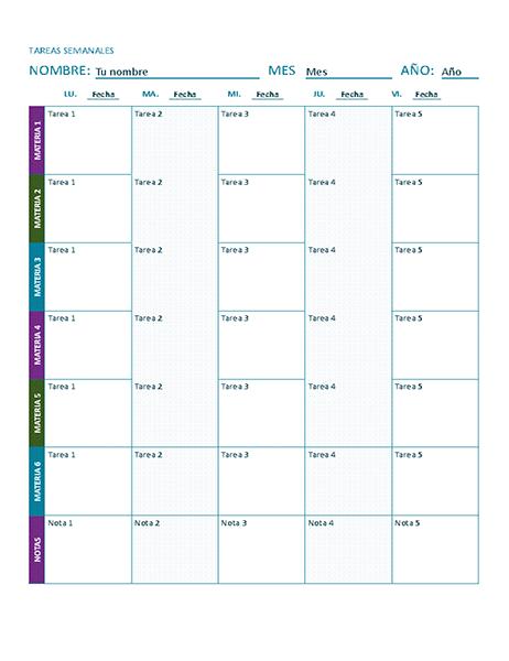 Hoja de tareas semanal (en color)