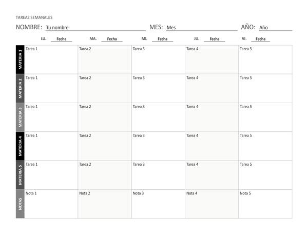 Hoja de tareas semanal (horizontal)
