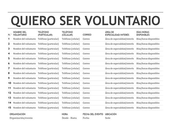 Lista de voluntarios