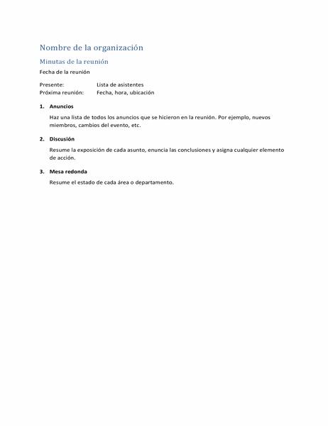 Minutas de la reunión (forma abreviada)