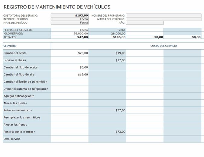 Registro de mantenimiento de vehículos