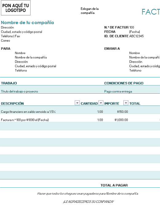 Factura con cargo financiero (azul)