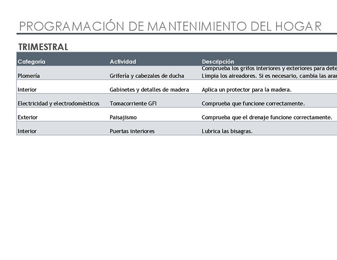 Programación y lista de tareas de mantenimiento del hogar