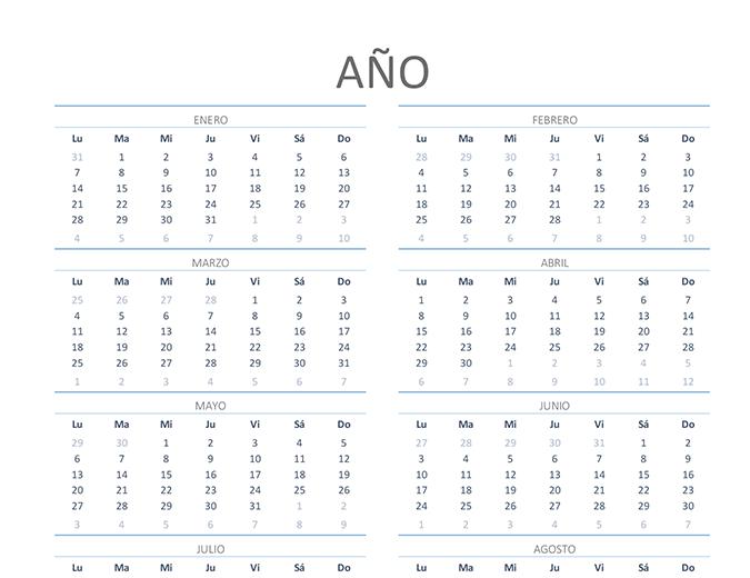 Calendario de cualquier año (lun. a vie.)