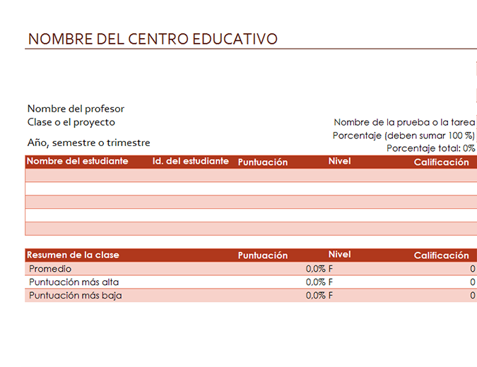 Libro de calificaciones del profesor (basado en porcentajes)