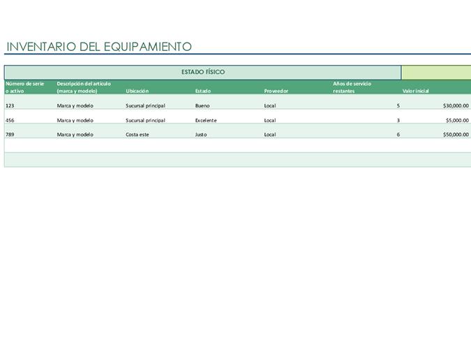 Lista de inventario del equipamiento