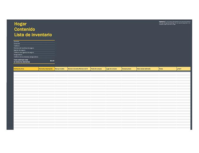 Lista de inventario de contenido del hogar
