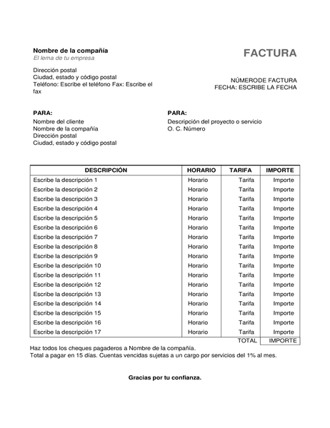 Facturas de servicios con horas y tarifa