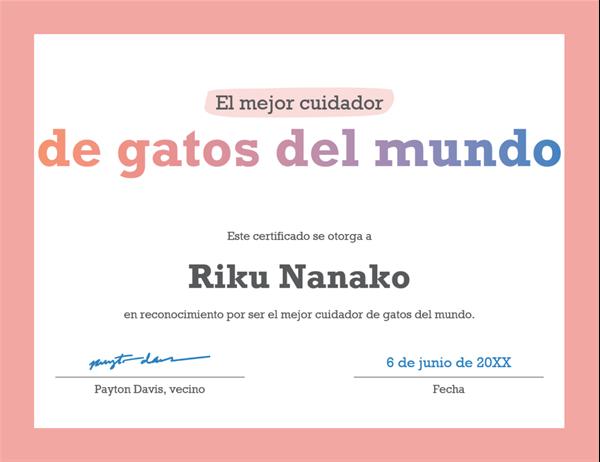 Certificado de reconocimiento al mejor del mundo