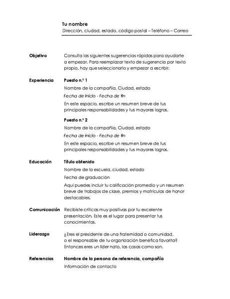 Currículum vítae cronológico (diseño minimalista)