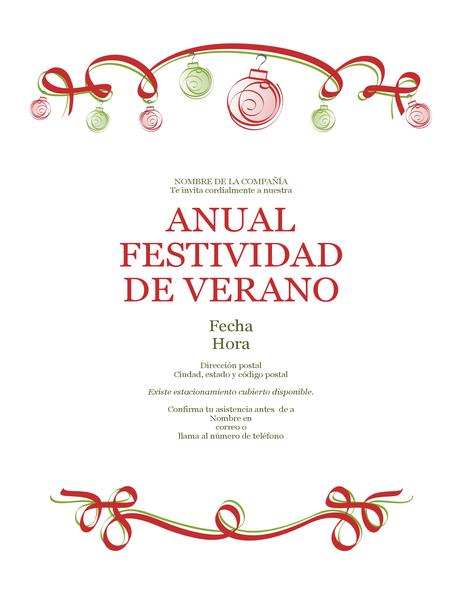 Invitación a fiesta anual con adornos y cinta roja (diseño formal)