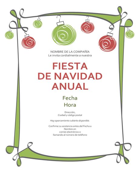 Invitación de feriado con adornos y un margen en forma de espiral (diseño informal)