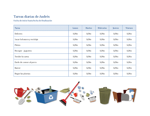 Lista de comprobación de tareas domésticas para un niño