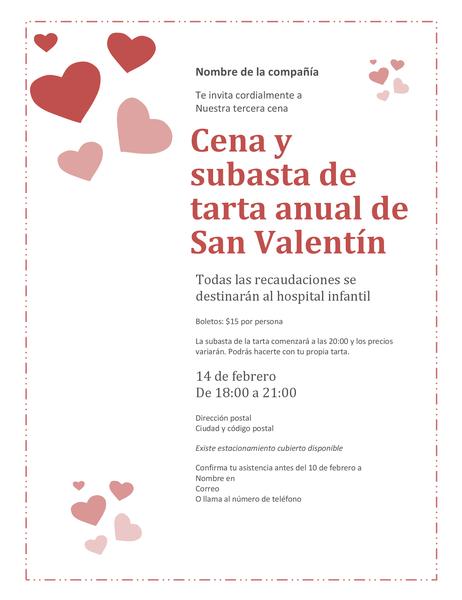 Invitación de subasta de tarta de corazón de San Valentín
