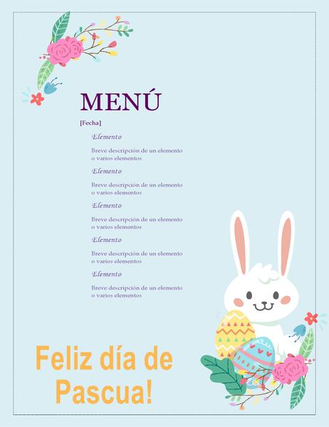 Menú de fiesta de Pascua