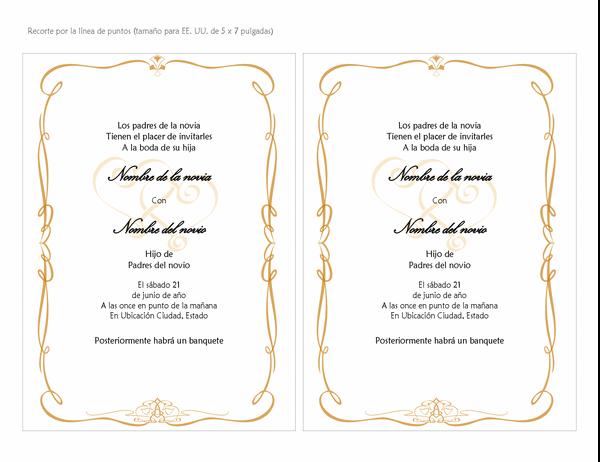 Invitaciones de boda (diseño de pergamino de corazón, tamaño A7, 2 por página)