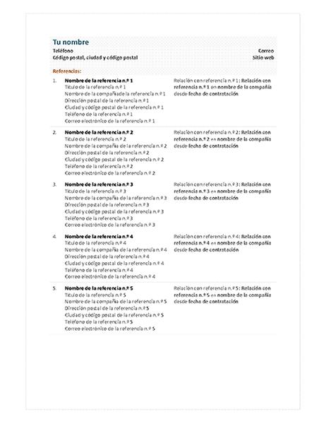 Hoja de referencia para currículum vítae funcional