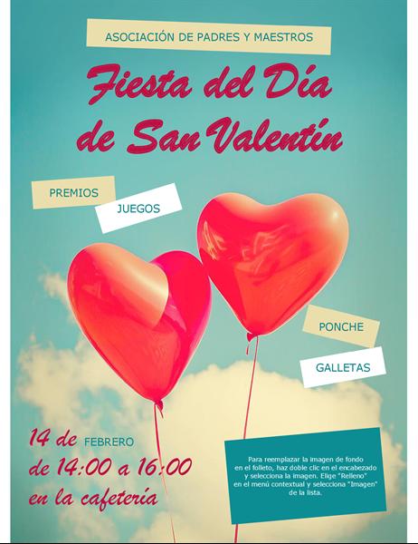Folleto de San Valentín con globos con forma de corazón