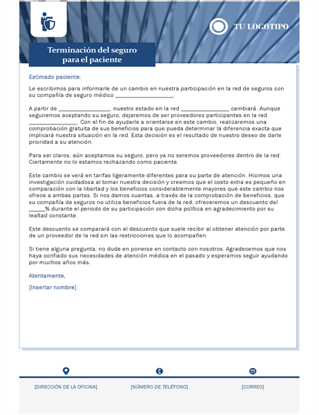 Carta de terminación de seguro médico