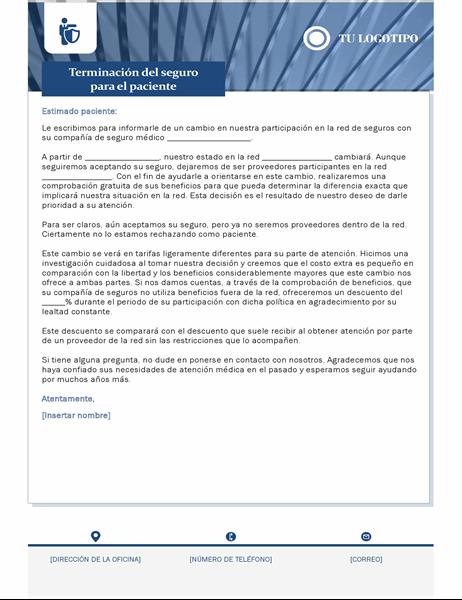 Carta de terminación de seguros de salud