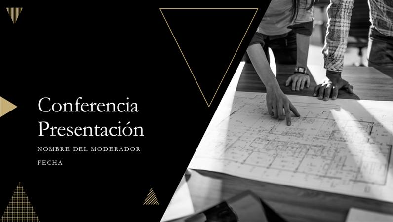 Presentación de conferencia con diseño geométrico