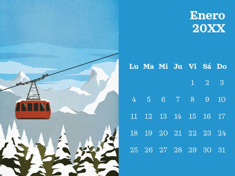 Calendario mensual con escena de exteriores