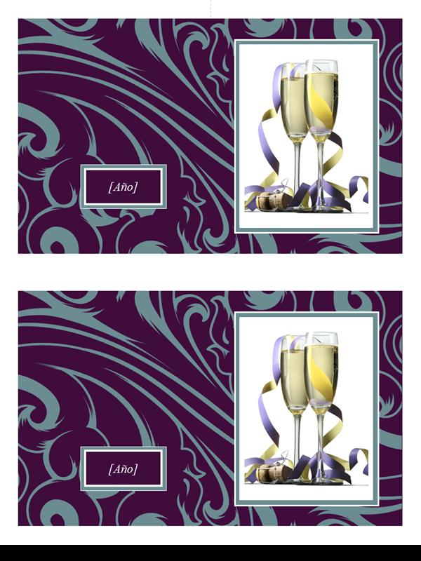 Tarjetas con foto elegantes (espirales azules sobre púrpura, 2 por página)