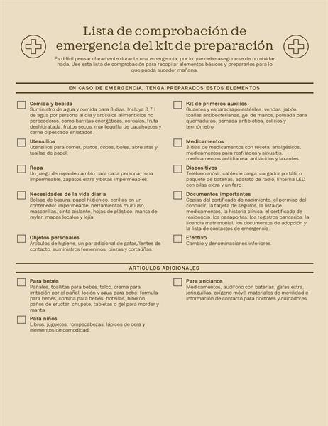 Lista de comprobación del kit de preparación para emergencias