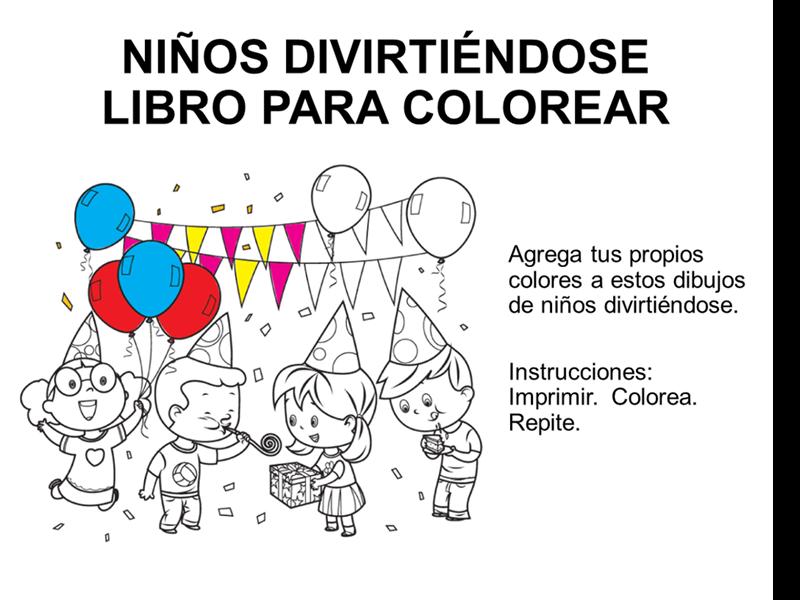 Libro para colorear con niños divirtiéndose