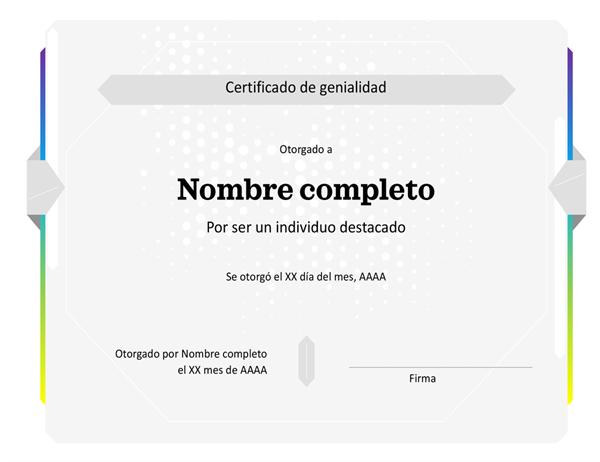 Certificación de genialidad