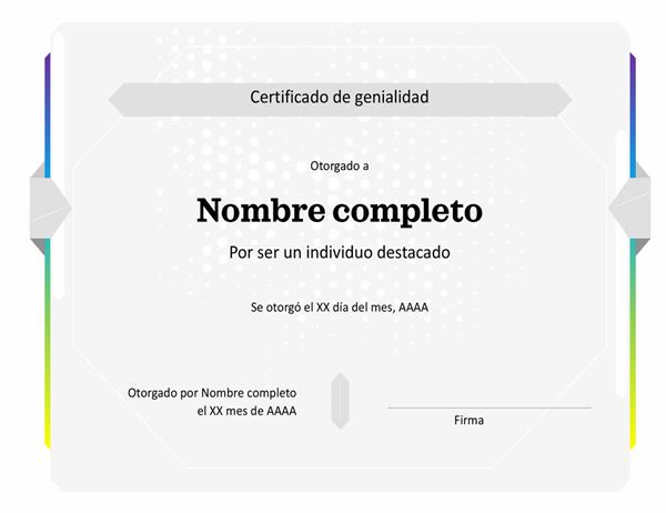 Certificado de genialidad