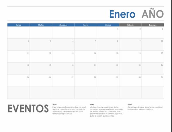 Calendario horizontal (inicio en lunes)