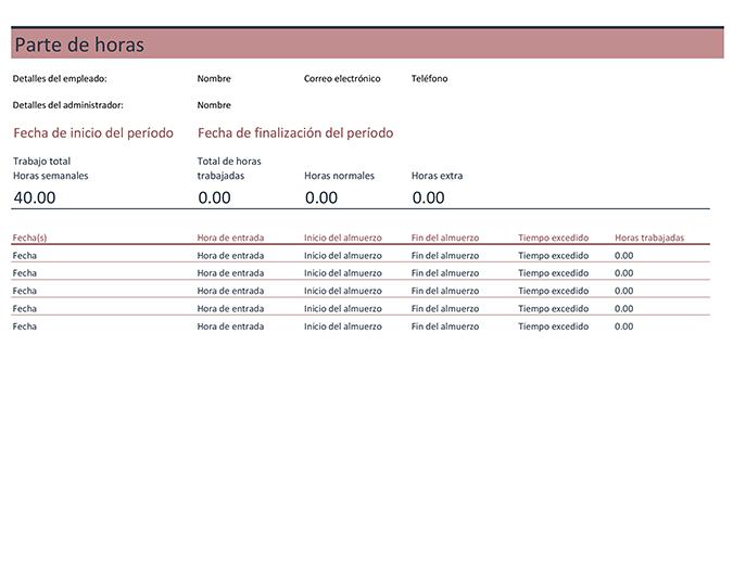 Planilla horaria (semanal)