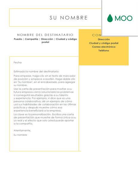 Carta de presentación nítida y limpia diseñada por MOO