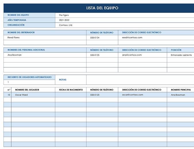 Lista del equipo deportivo