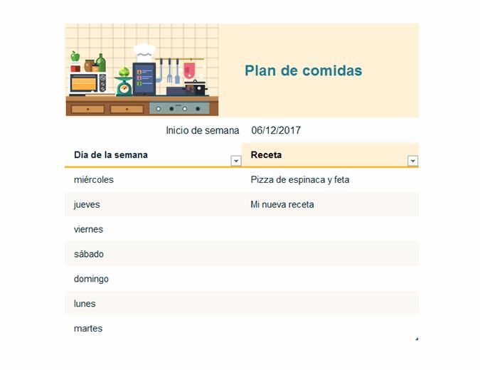 Plan de comidas semanal