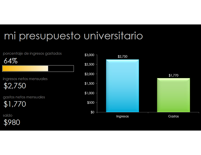 Mi presupuesto universitario