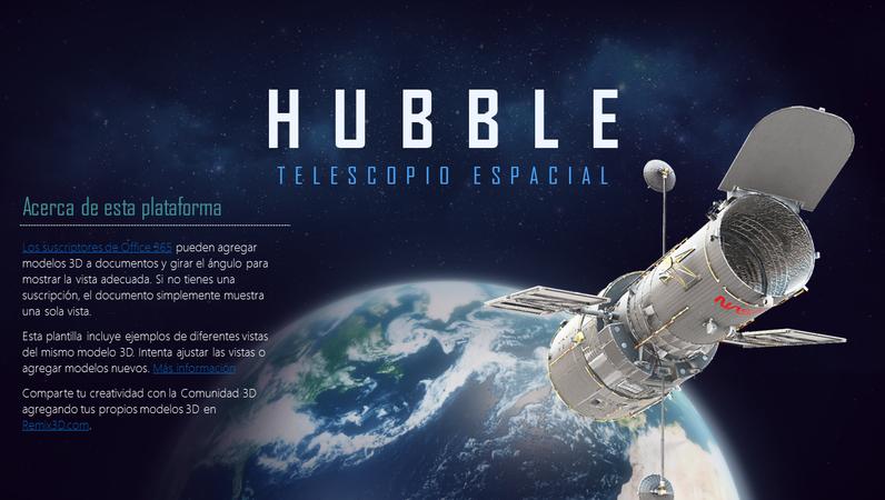 Presentación de PowerPoint 3D (modelo de telescopio Hubble)