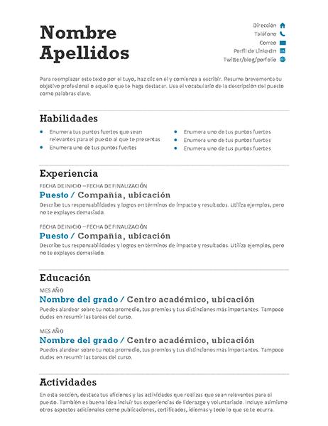 Currículo ajustado (diseño moderno)