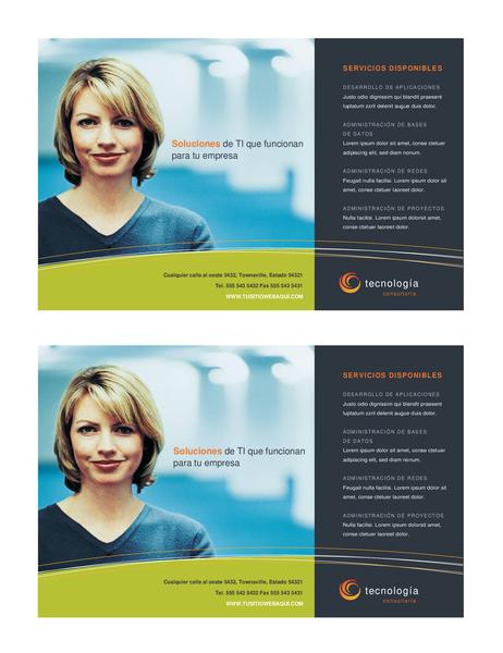 Folleto de empresa de tecnología (media página, 2 por página)