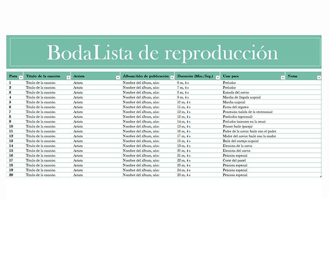 Lista de reproducción de la boda