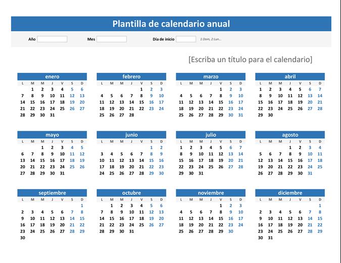 Calendario de cualquier año de un vistazo (horizontal)