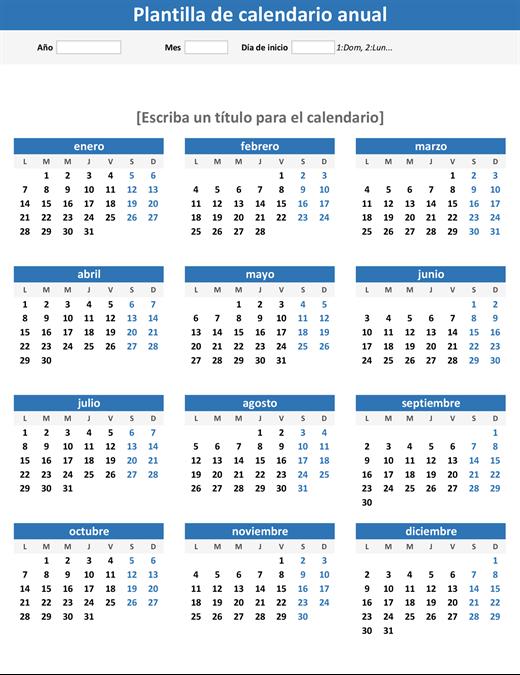 Calendario de cualquier año de un vistazo (vertical)